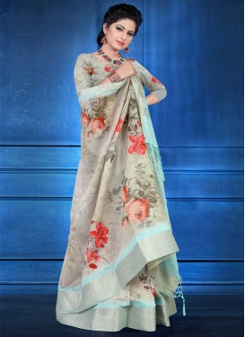 Aqua Blue and Beige Jacquard Silk Traditional Designer Saree For Ceremonial