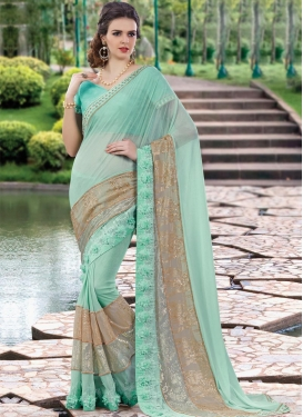 Aqua Blue and Beige Lace Work Designer Contemporary Style Saree