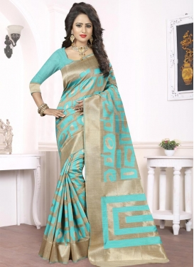 Aqua Blue and Beige Thread Work Contemporary Saree