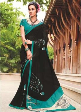 Aqua Blue and Black Classic Saree For Casual