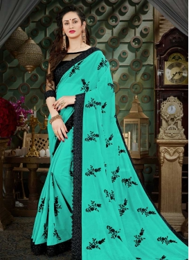 Aqua Blue and Black Contemporary Style Saree