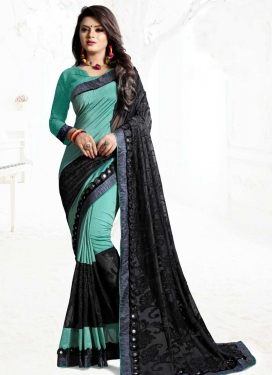 Aqua Blue and Black Designer Contemporary Style Saree