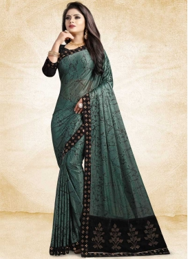 Aqua Blue and Black Digital Print Work Contemporary Style Saree