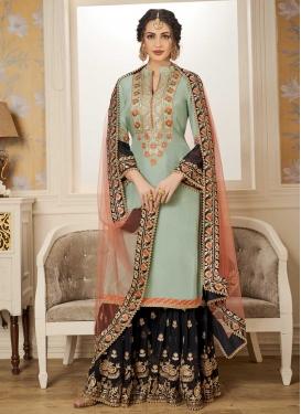 Aqua Blue and Black Embroidered Work Sharara Salwar Suit