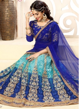Aqua Blue and Blue Booti Work Trendy Lehenga Choli