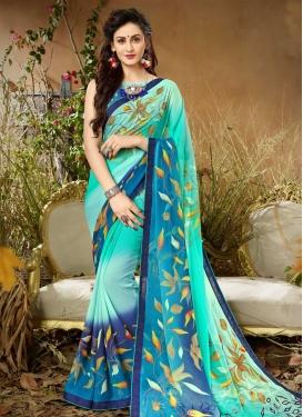 Aqua Blue and Blue Contemporary Style Saree