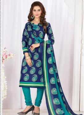 Aqua Blue and Blue Cotton Churidar Salwar Kameez For Casual