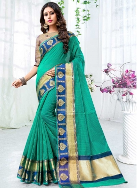 Aqua Blue and Blue Cotton Silk Contemporary Style Saree For Festival