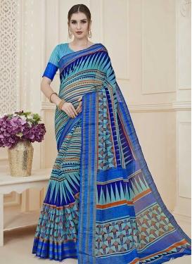 Aqua Blue and Blue Digital Print Work Designer Traditional Saree