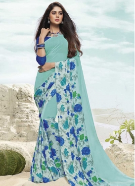 Aqua Blue and Blue Digital Print Work Traditional Saree