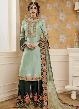 Aqua Blue and Bottle Green Faux Georgette Palazzo Style Pakistani Salwar Kameez For Ceremonial