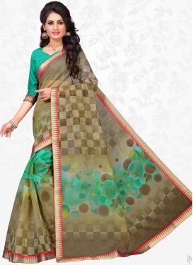 Aqua Blue and Brown Cotton Silk Contemporary Style Saree