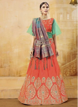 Aqua Blue and Coral Banarasi Silk A Line Lehenga Choli