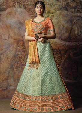 Aqua Blue and Coral Embroidered Work Trendy Lehenga