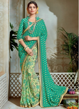 Aqua Blue and Cream Brasso Georgette Half N Half Trendy Saree