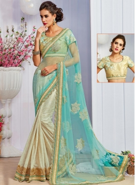 Aqua Blue and Cream Fancy Fabric Half N Half Saree