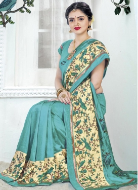 Aqua Blue and Cream Silk Designer Contemporary Saree