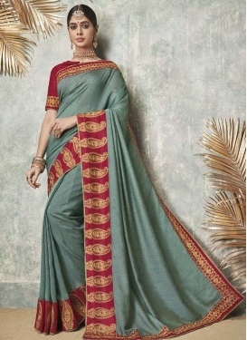 Aqua Blue and Crimson Art Silk Classic Saree