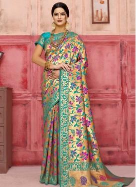 Aqua Blue and Gold Thread Work Traditional Designer Saree