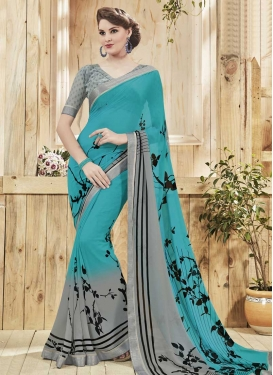 Aqua Blue and Grey Contemporary Style Saree