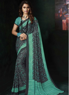 Aqua Blue and Grey Crepe Silk Traditional Designer Saree