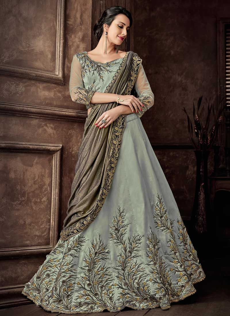 Aqua Blue and Grey Embroidered Work Designer Lehenga Saree
