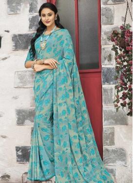 Aqua Blue and Grey Print Work Trendy Classic Saree