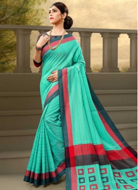 Aqua Blue and Grey Traditional Saree