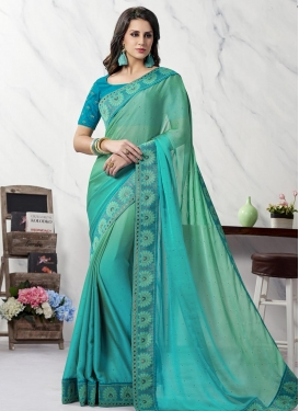 Aqua Blue and Light Blue Contemporary Saree For Ceremonial