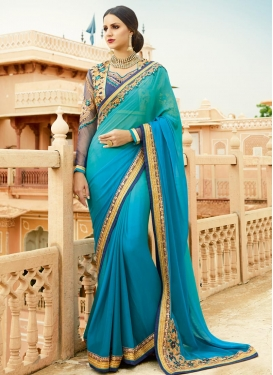 Aqua Blue and Light Blue Embroidered Work Traditional Saree