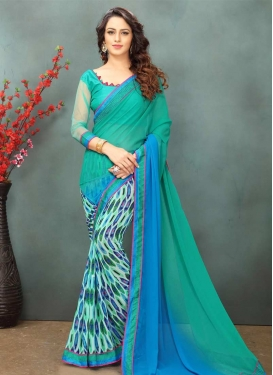 Aqua Blue and Light Blue Trendy Saree For Ceremonial