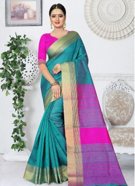 Aqua Blue and Magenta Thread Work Trendy Classic Saree