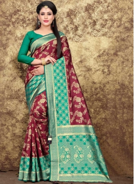 Aqua Blue and Maroon Traditional Designer Saree