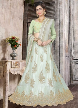 Aqua Blue and Mint Green A Line Lehenga Choli For Festival