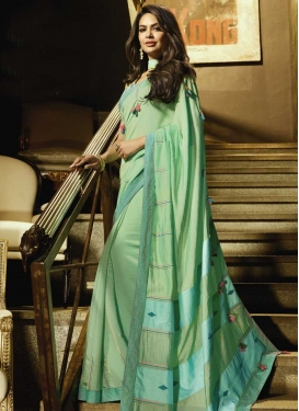 Aqua Blue and Mint Green Classic Saree