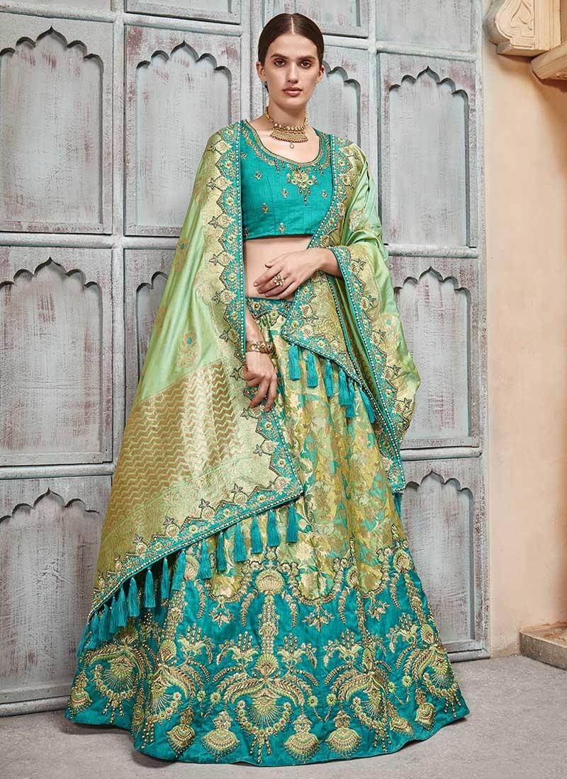 Aqua Blue and Mint Green Jacquard Silk Lehenga Choli