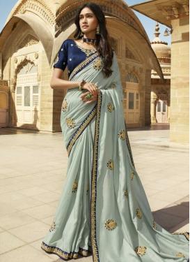 Aqua Blue and Navy Blue Art Silk Traditional Designer Saree