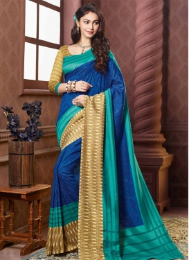 Aqua Blue and Navy Blue Contemporary Style Saree