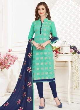 Aqua Blue and Navy Blue Cotton Trendy Churidar Salwar Kameez