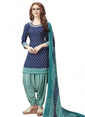 Aqua Blue and Navy Blue Crepe Silk Trendy Patiala Salwar Kameez