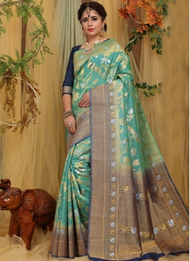 Aqua Blue and Navy Blue Designer Contemporary Saree