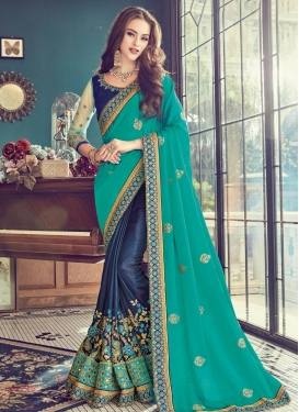 Aqua Blue and Navy Blue  Designer Half N Half Saree