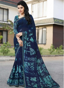Aqua Blue and Navy Blue Digital Print Work Contemporary Style Saree