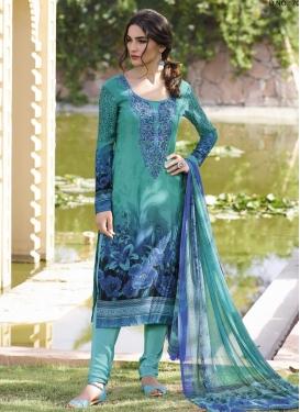 Aqua Blue and Navy Blue Digital Print Work Trendy Churidar Suit