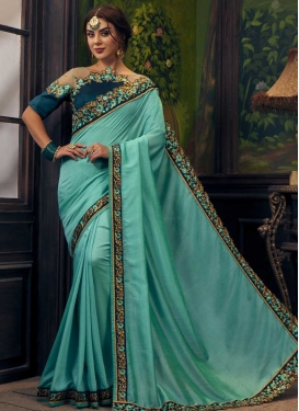 Aqua Blue and Navy Blue Embroidered Work Classic Saree