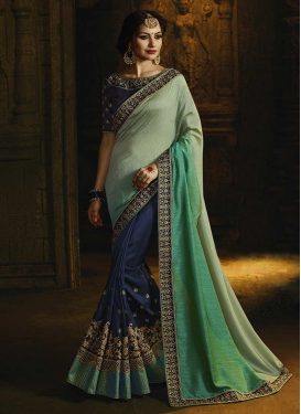 Aqua Blue and Navy Blue Embroidered Work Half N Half Designer Saree