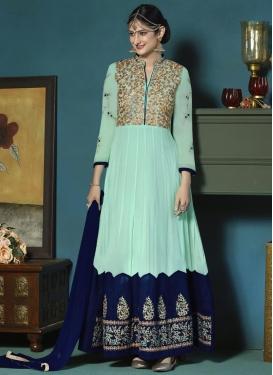 Aqua Blue and Navy Blue Faux Georgette Long Length Designer Anarkali Suit