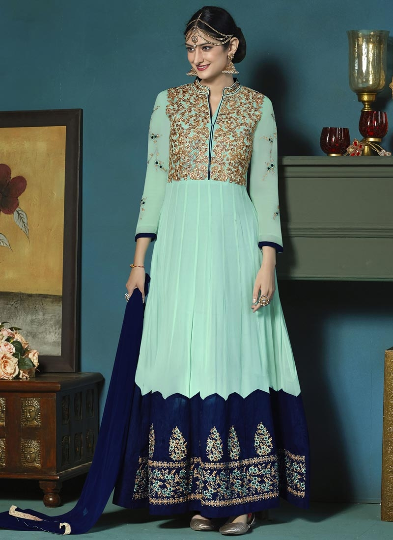 690ff0cb60 Aqua Blue and Navy Blue Faux Georgette Long Length Designer Anarkali Suit