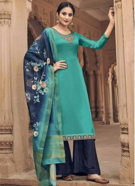 Aqua Blue and Navy Blue Palazzo Style Pakistani Salwar Suit
