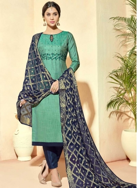 Aqua Blue and Navy Blue Pant Style Classic Salwar Suit For Ceremonial